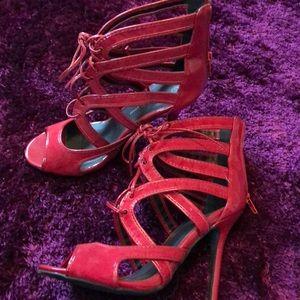 6 1/2 red tie up, peep toe heels
